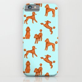 Red Poodles Pattern (Light Blue Background) iPhone Case