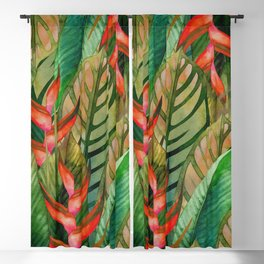 Painted Jungle Leaves 2 Blackout Curtain