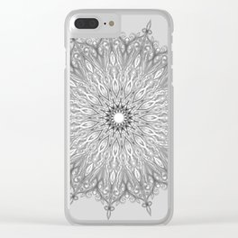 Gray Swirl Mandala light gray Clear iPhone Case