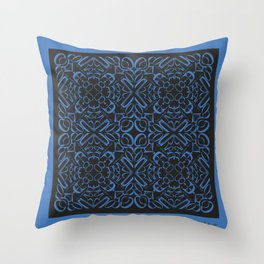 Courage of her Conviction Tiled - Blue Black Throw Pillow