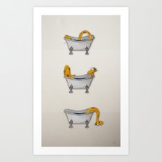 giraffe takes a bath Art Print