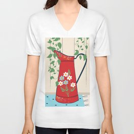 Country Garden Vintage Flower Jug Unisex V-Neck