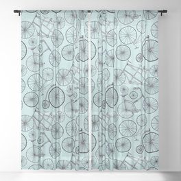 Monochrome Vintage Bicycles On Soft Blue Sheer Curtain