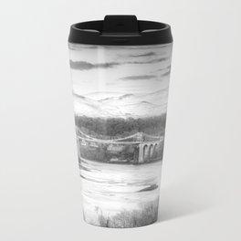 Menai Bridge Winter B&W Travel Mug