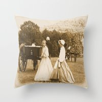 battlefield Throw Pillows featuring Strolling on the Battlefield by Frankie Cat