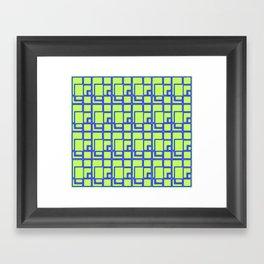 Yellow and blue geometric pattern Framed Art Print