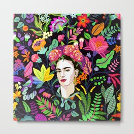 Frida in Bloom Metal Print