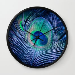 Peacock Feather Blush Wall Clock