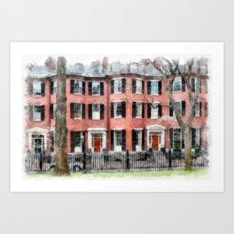 Historic Louisburg Square Beacon Hill Boston Art Print