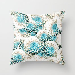 Damask Pattern Azure Throw Pillow
