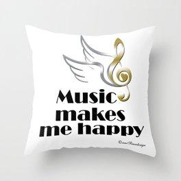 Music makes me happy Throw Pillow