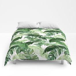 Green leaf watercolor pattern Comforters