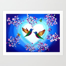 Hummingbirds and Cherry Blossoms with Butterflies Art Print