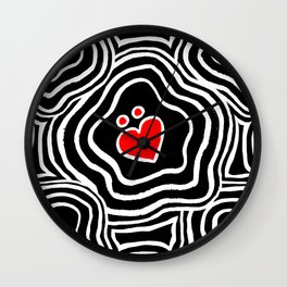 'I Love You Umlaut' Valentine's Pattern - Red, White and Black Block Print Wall Clock