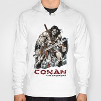 conan Hoodies featuring Conan by CromMorc