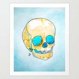 Orange and Blue Skull Watercolor and Ink Art Print