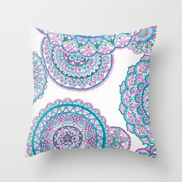 Blues and pink Throw Pillow