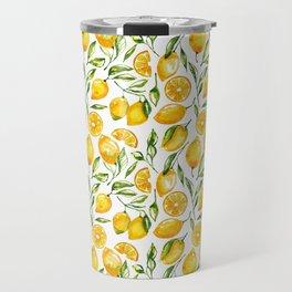 sunny lemons print Travel Mug