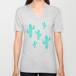 Linocut Cacti Candy Unisex V-Neck