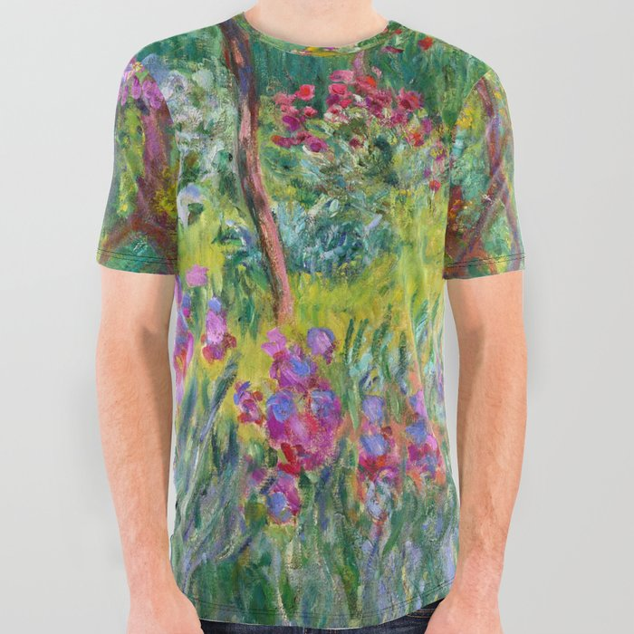 Claude_Monet__The_Iris_Garden_At_Giverny_All_Over_Graphic_Tee_by_Elegant_Chaos_Gallery__Small