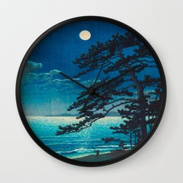 Vintage Japanese Woodblock Print Moonlight Over Ocean Japanese Landscape Tall Tree Silhouette Wall Clock