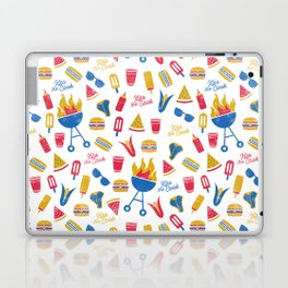 Summer BBQ Pattern - Blue Red Yellow Laptop & iPad Skin