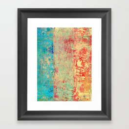 Brilliant Encounter, Abstract Art Turquoise Red Framed Art Print