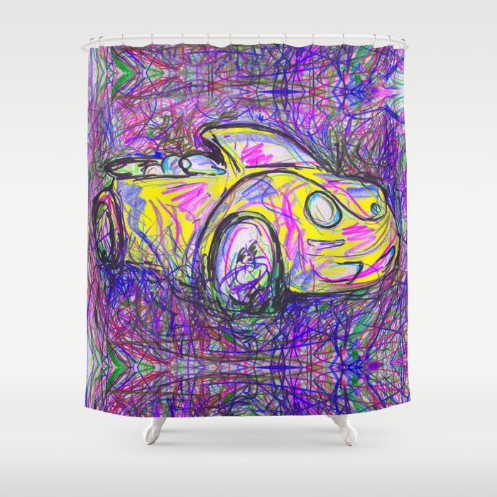 Expressive Bright Yellow V W Beetle Created Under The Influence Of Caffine By Annmariescreations Shower Curtain