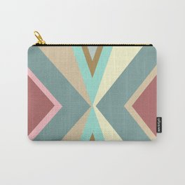 Which Way? | Abstract Tribal Blue Red Pink Triangles Pattern Carry-All Pouch