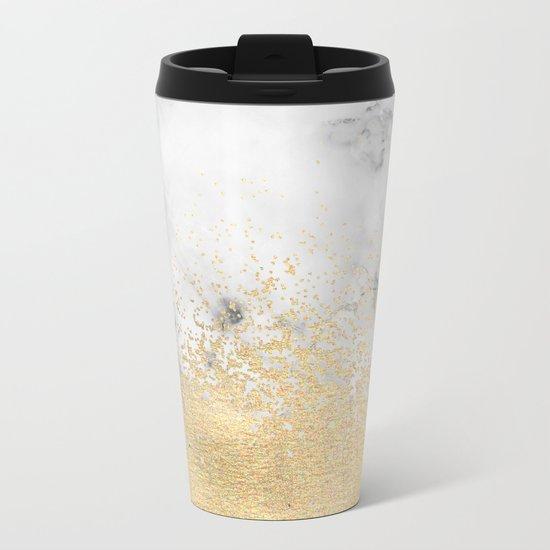 Gold Dust on Marble Metal Travel Mug