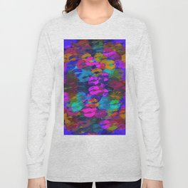 sexy kiss lipstick abstract pattern in pink blue orange red Long Sleeve T-shirt