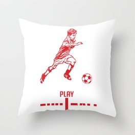 real boys play soccer with england flag in the word football Throw Pillow