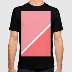 Modern minimalist geometric pink coral color block MEDIUM Mens Fitted Tee Black