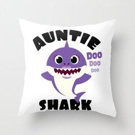 Auntie Shark design Gift - Cute Baby Shark Matching Family Throw Pillow