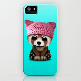 Cute Baby Red Panda Wearing Pussy Hat iPhone Case