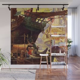 """""""Pirate Ships in Harbor""""by Frank Earle Schoonover Wall Mural"""
