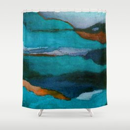 """""""a dark february redux1"""" abstract watercolor painting Shower Curtain"""
