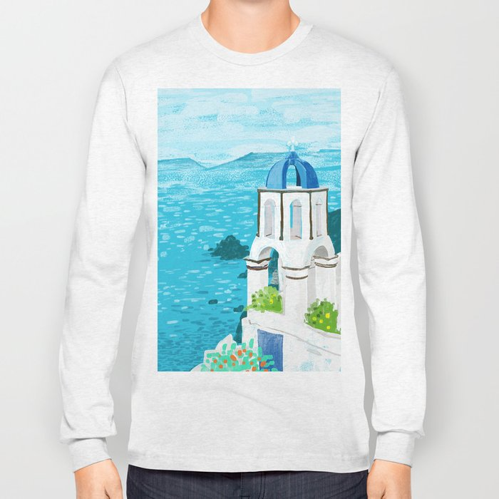 Greek Landscape #painting #travel #greece Long Sleeve T-shirt