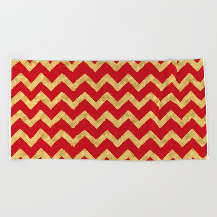 Chevron Red Gold Beach Towel