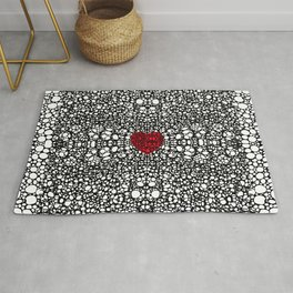Pattern 19 - Heart Art - Black And White Exquisite Pattern By Sharon Cummings Rug