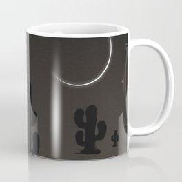 Dramatic Moonlit Silhouette Desert Night Illustration Coffee Mug