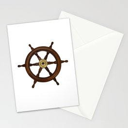 old oak steering wheel for ship or boat Stationery Cards