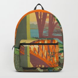 Mid Century Colorful Travel Posters Forth Bridge British Railways Backpack