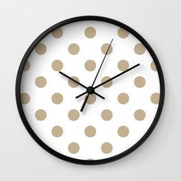 Polka Dots - Khaki Brown on White Wall Clock