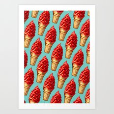 Ice Cream Pattern - Cherry Dip Art Print