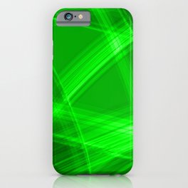 Light strokes with green diagonal lines from intersecting glowing bright energy waves. iPhone Case