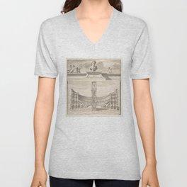 Vintage Roman Colosseum Illustrative Diagram Unisex V-Neck