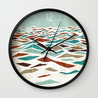 bright Wall Clocks featuring Sea Recollection by Efi Tolia