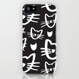 Cat's Whiskers Black And White Illustration Pattern iPhone Case
