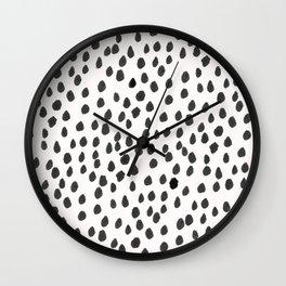 Hand painted monochrome dot pattern Wall Clock